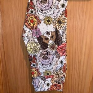 NWT LLR Dogs & Floral Printed Leggings